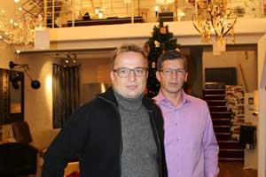 Die Geschäftsführer Torsten Helmholz (links) und Karsten Krause inszenieren den Erlebniseinkauf im ehemaligen Brauhaus.