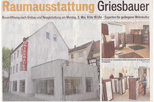 Die Lokalpresse ist immer informiert, sei es über die bestandene Meisterprüfung von Susanne Griesbauer oder über den Generationswechsel in dem Familienbetrieb.