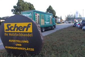 Das Scherf-Logo wir in allen Unternehmesbereichen genutzt, auch für die Beschriftung der neun eigenen Lkw